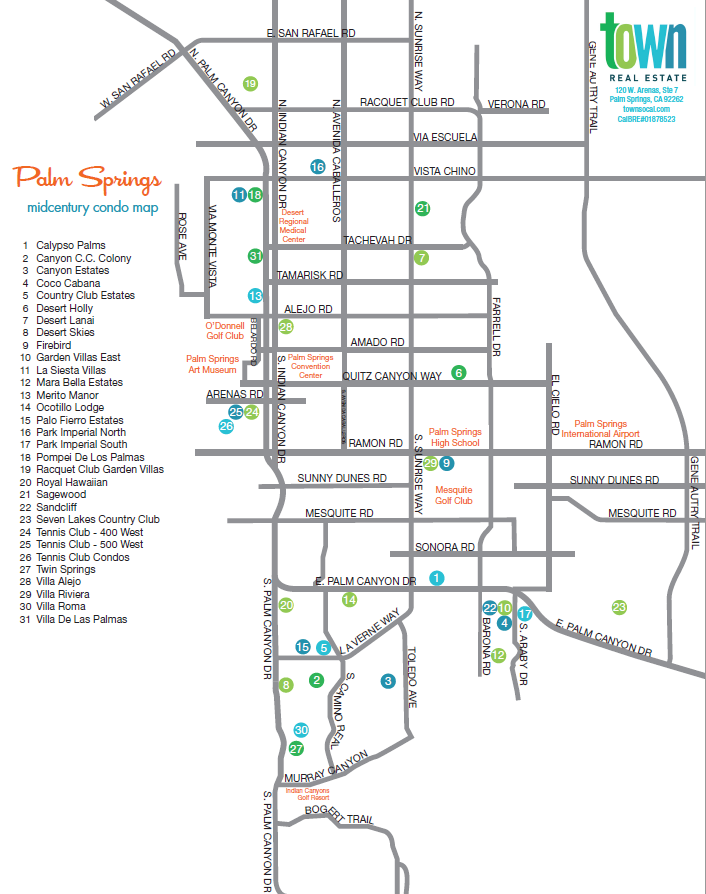 map of Palm Springs mid-century modern condo developments