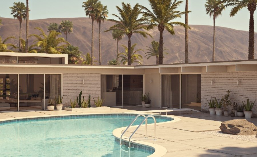 beautiful patio & pool off a Palm Springs villa condo