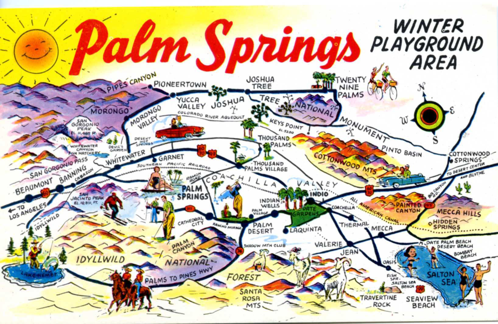 Palm Springs Winter Playground, Vintage Postcard