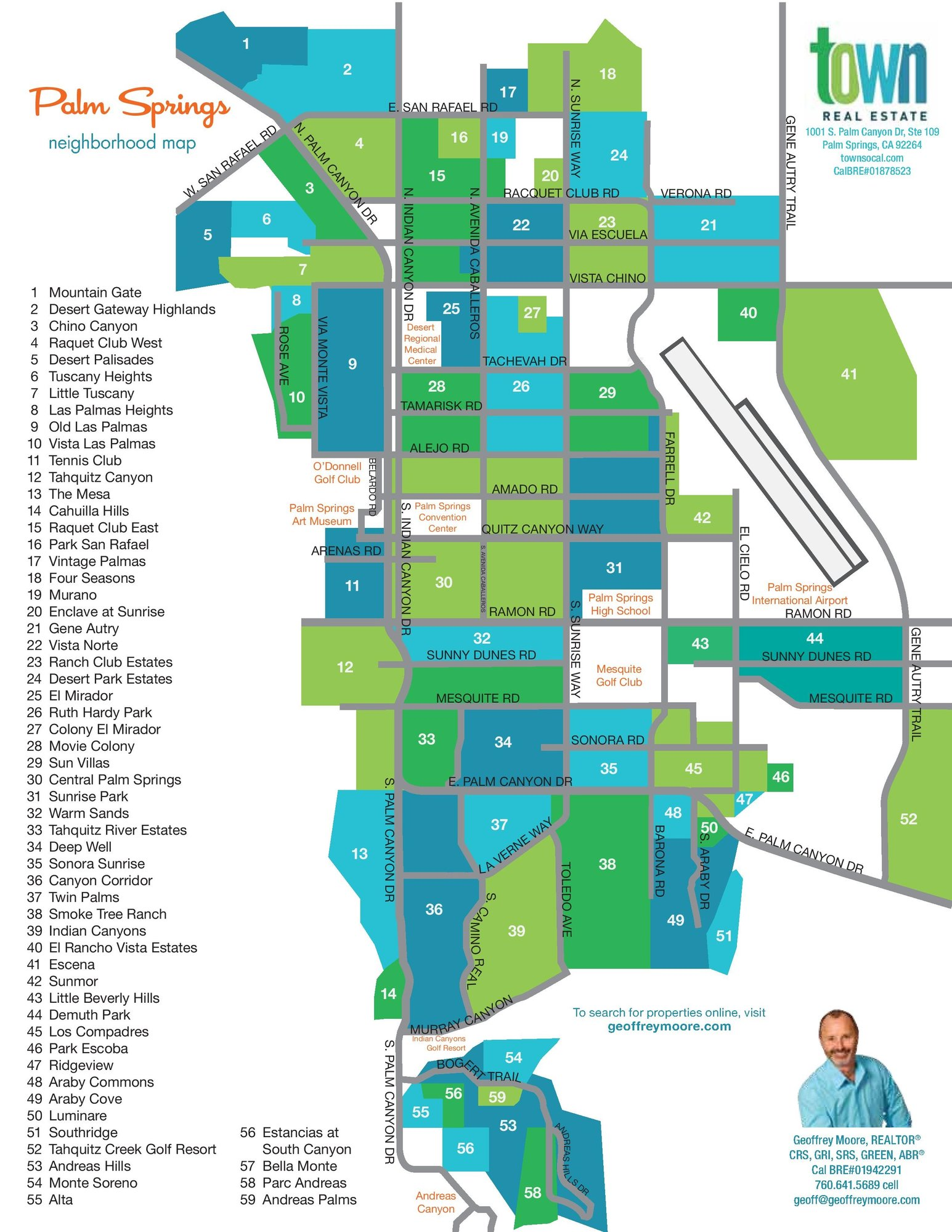 Palm Springs Map and Palm Springs Real Estate Map